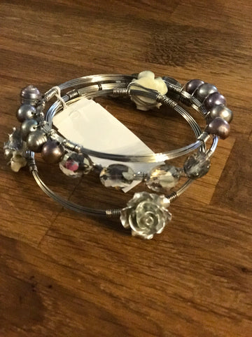 Silver Rose, Pearl, & Rhinestone Bangle Set