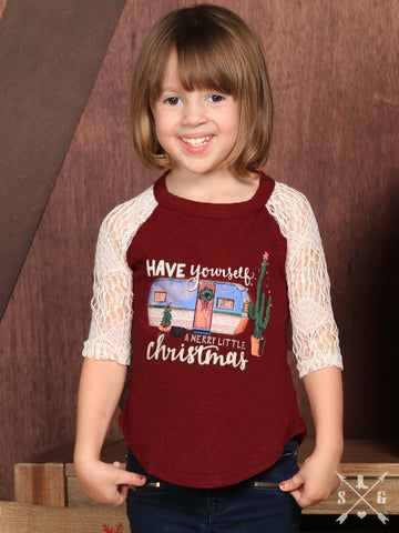 Kids Have Yourself a Merry Little Christmas Maroon