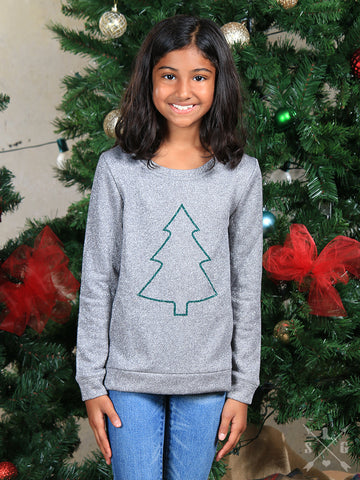 Silver Shimmer Christmas Tree Sweater