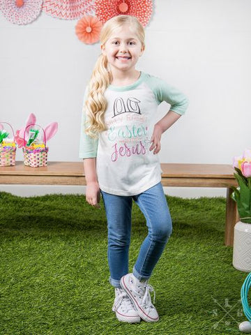 Girls' Silly Rabbit Girls Easter is for Jesus on White Raglan with Mint Striped Sleeves