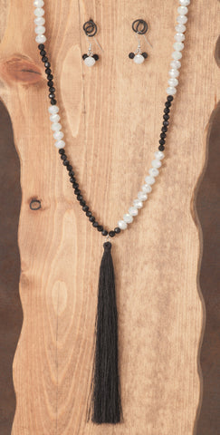 Beaded Black & White Tassel Necklace