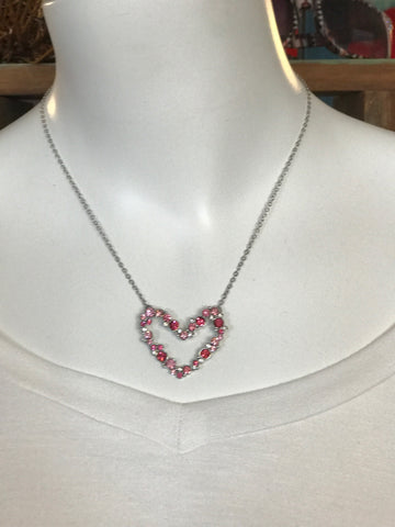 "16"" Shades of Pink Heart Necklace"