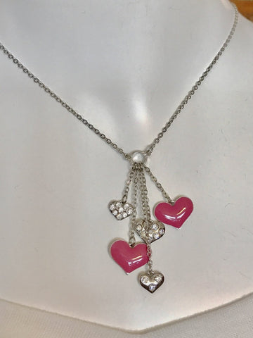 "16"" Pink Hearts and Rhinestone Necklace"