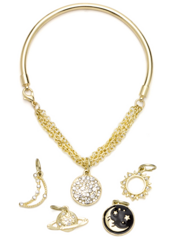 6PC GOLD & BLACK CELESTIAL BANGLE BRACELET WITH CHARMS