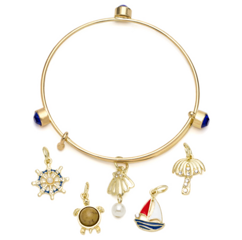 6PC GOLD & BLUE SHELL & TURTLE BANGLE BRACELET & CHARMS