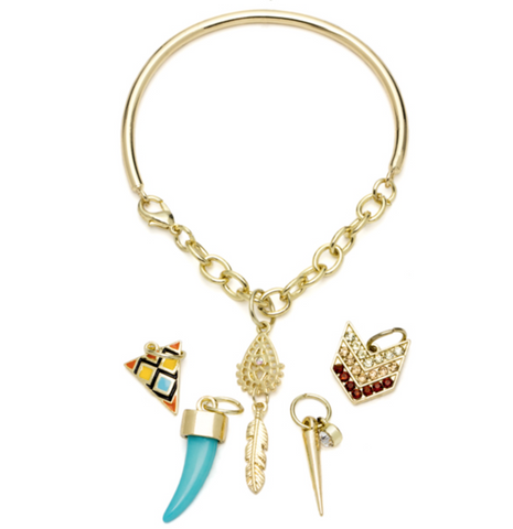 6PC GOLD & TURQUOISE INDIE BANGLE BRACELET WITH CHARMS