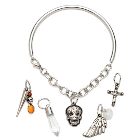 6PC ORANGE SKULL & CROSS SILVER BANGLE BRACELET WITH CHARMS