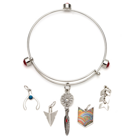6PC RED BOHO SILVER BANGLE BRACELET WITH CHARMS