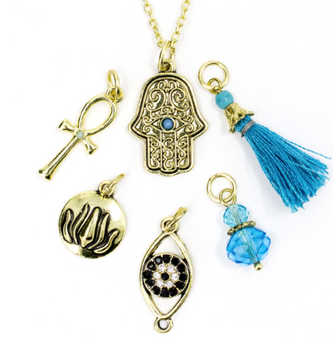 7 PC GOLD HAMSA NECKLACE WITH CHARMS
