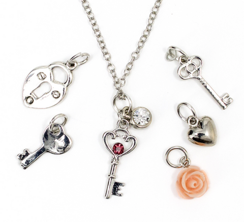 7 PC SILVER KEY NECKLACE WITH CHARMS
