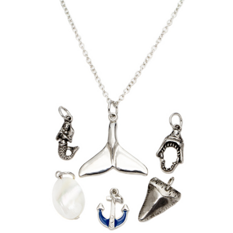 7PC BLUE TAIL & SHARK SILVER NECKLACE WITH CHARMS