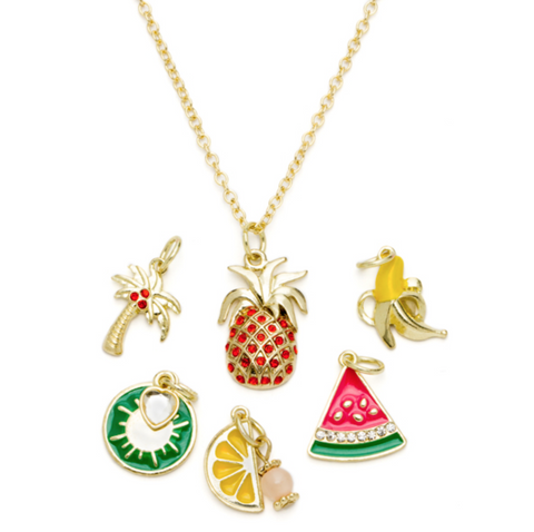 7PC ORANGE FRUIT GOLD NECKLACE WITH CHARMS