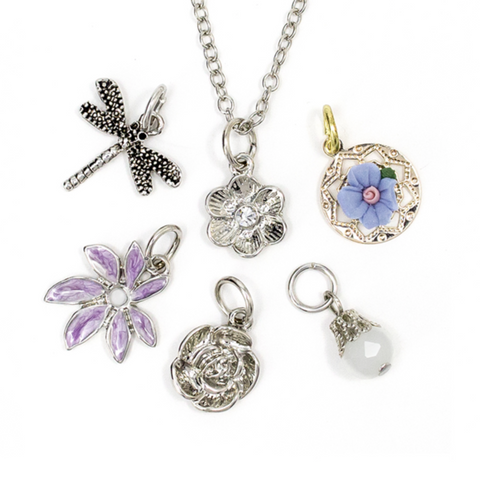 7PC SILVER DRAGONFLY NECKLACE WITH CHARMS