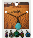 7PC TURQUOISE HIPPIE BRASS NECKLACE WITH CHARMS