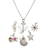 7PC WHITE ANCHOR & OCEAN SILVER NECKLACE WITH CHARMS