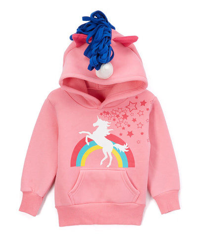 Children's Unicorn Rainbow 3D Hoodie with Horn