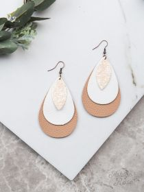 Triple Threat Earrings, Tan and White