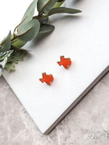 Texas On My Mind Druzy Stud Earrings, Orange