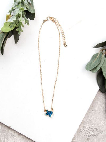 Texas On My Mind Druzy Necklace on Gold Chain, Blue