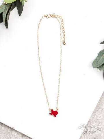 Texas On My Mind Druzy Necklace on Gold Chain, Red