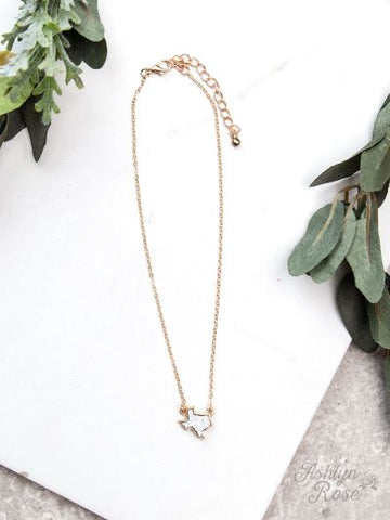 Texas On My Mind Druzy Necklace on Gold Chain, white