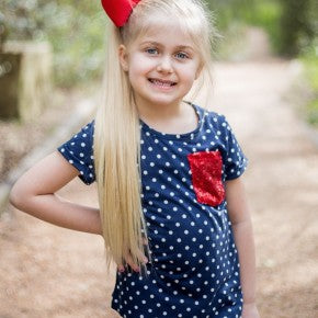 Girls' Aye Aye Captain! Tee with Red Sequin Pocket