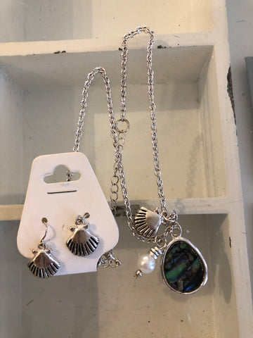 Sea Life Charm and Abalone Necklace Set
