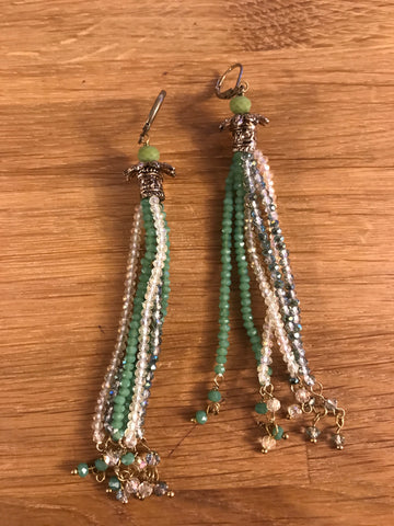 Green Drop Tassel Earrings