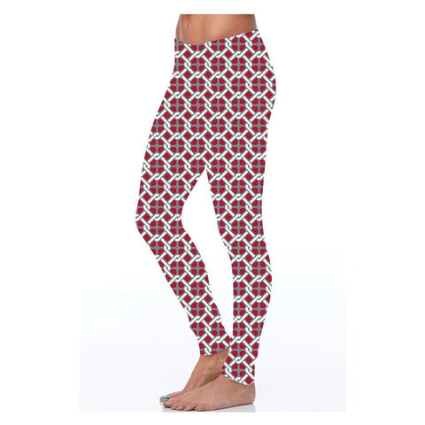 Crimson Red & Grey Patterned Leggings
