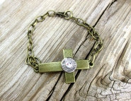 40 Cal Bronze Curved Cross Bracelet BulletDesigns