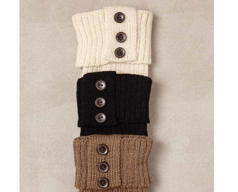 Ribbed Boot Cuff w/ Buttons