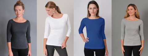 Three Dots Fitted British Boatneck Tee with 3/4 Sleeves