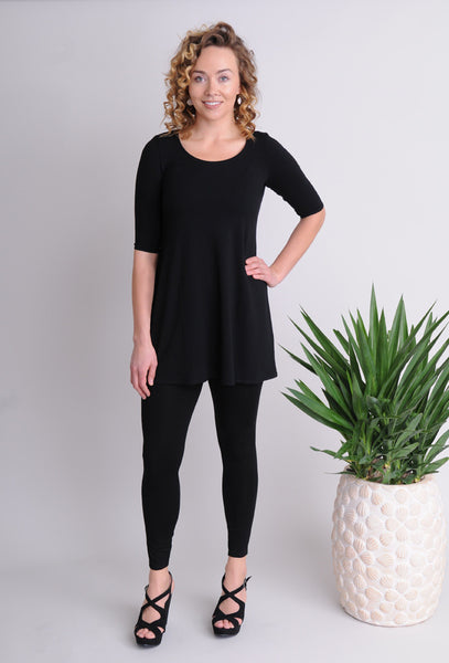 Eileen Fisher Scoop Neck Long Tunic in Viscose Jersey