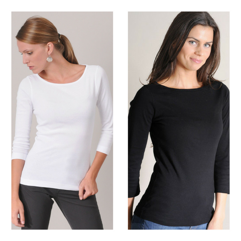 Three Dots Boatneck Tees at Naturals Inc