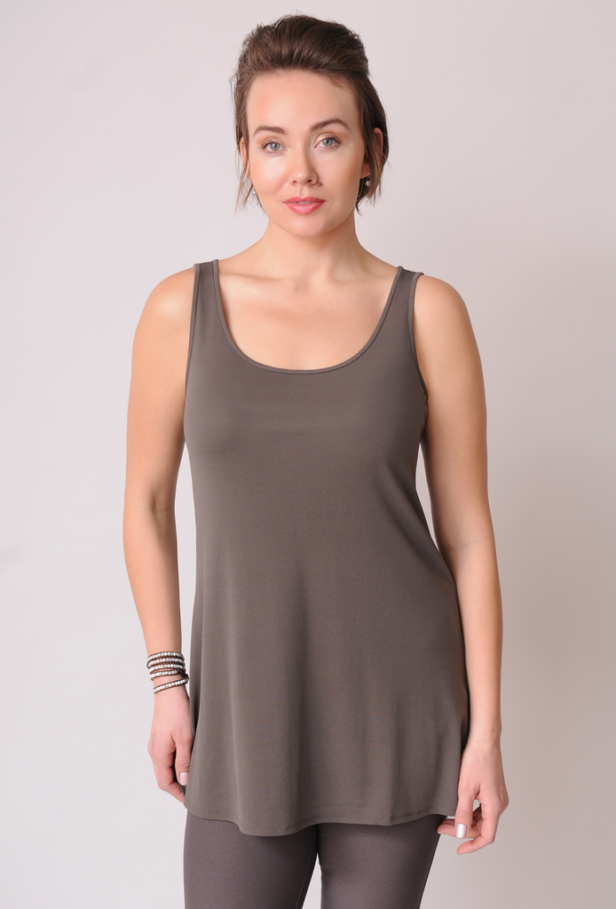 Eileen Fisher Scoop Neck Long Tank in Stretch Silk Jersey