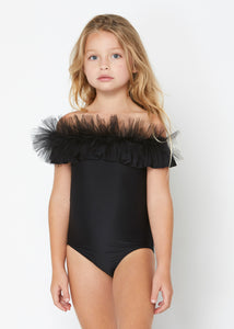 Black Draped Swimsuit with Tulle for Girls