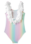 Rainbow Print Bathing Suit with White Petals
