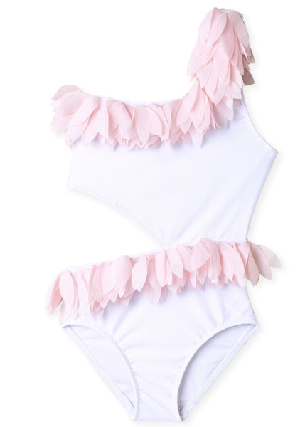 Pretty Bathing Suit with Pink Petals for Girls