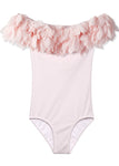 Pink Petal Draped Bathing Suit