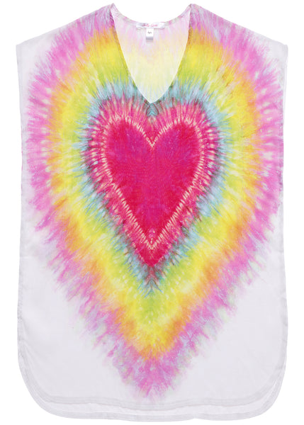 Tie-Dye Heart Poncho Cover-Up