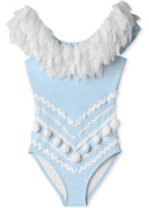 Blue Swimsuit with Petals N Pom Poms