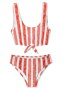 Red Stripe Bikini for Girls