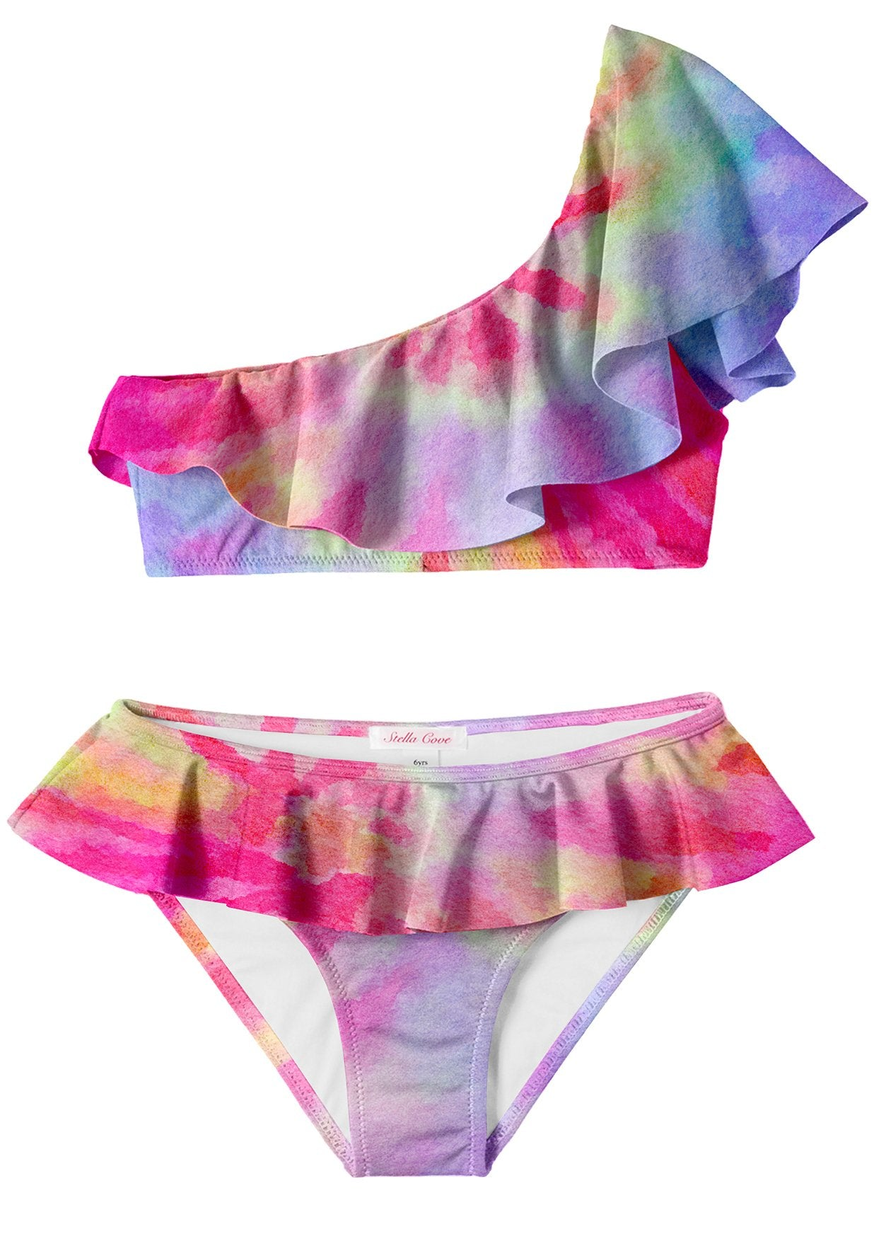 Pink Tie Dye One Shoulder Bikini
