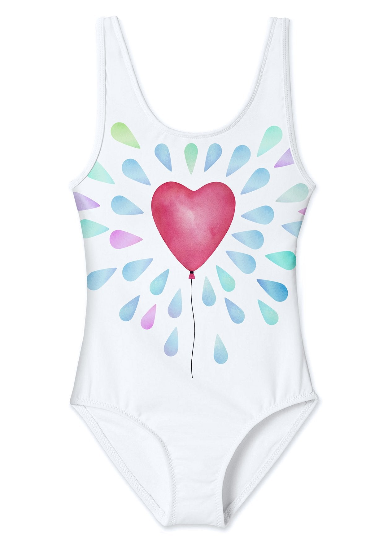 White Tank Swimsuit for Girls with Heart Balloon Print