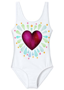 Ruby Heart Tank Swimsuit for Girls