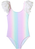 Rainbow Bathing Suit with Petal Shoulder Trim