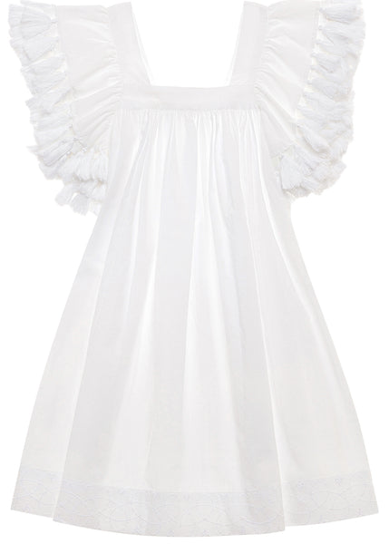 White Beach Cover-Up Dress with Tassels for Girls