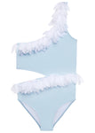 Baby Blue Bathing Suit with Side-Cut and White Petals