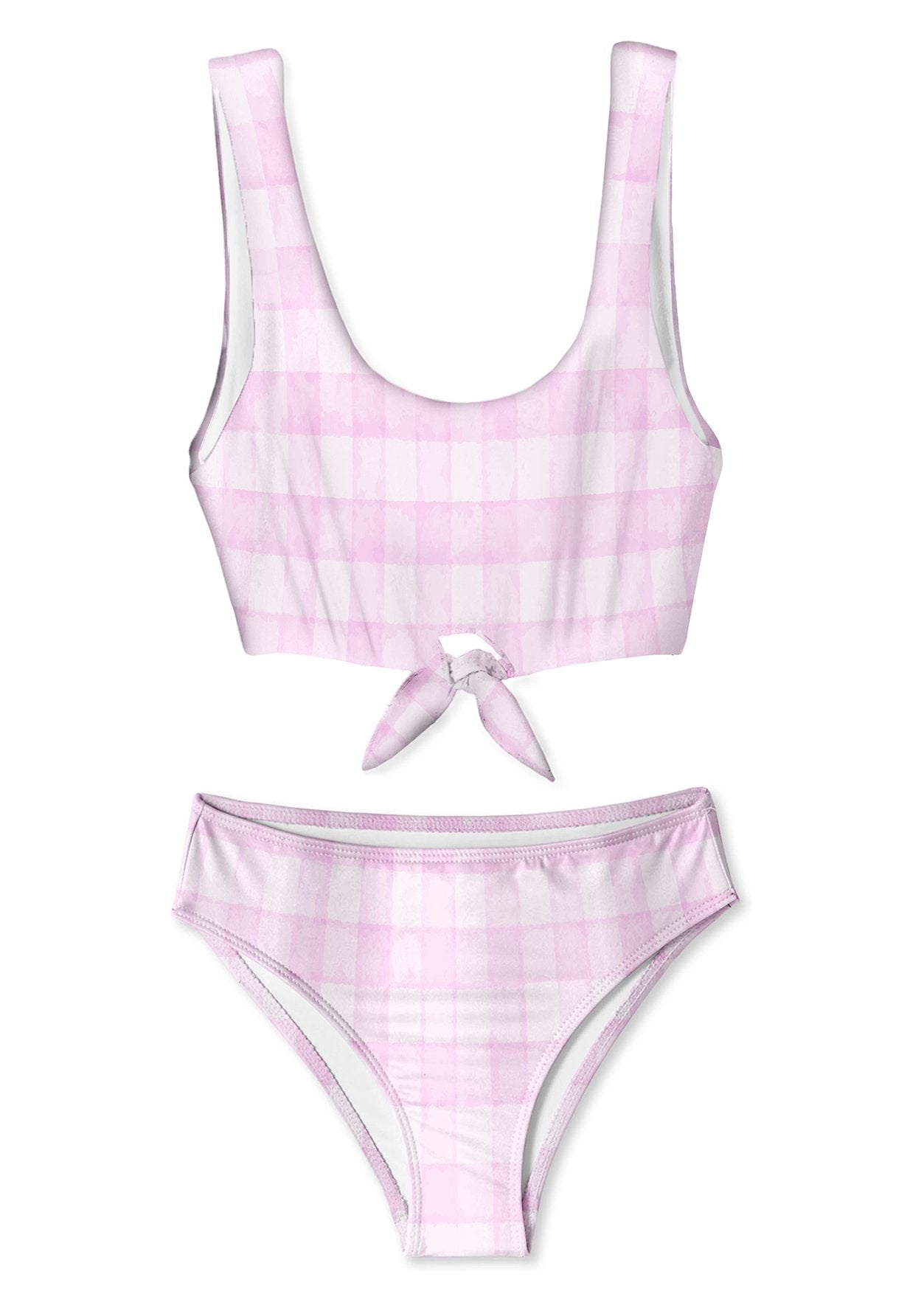 pink check bikini for girls