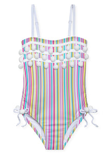 Super Striped  Pom Pom Swimsuit for Girls